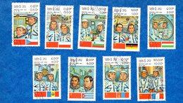 Espace- Cosmaunotes-  Lot De 9  Timbres  Du Laos  -1983   Oblitéres  -  Bon état Général - Space