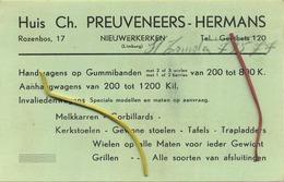 Geetbets : Huis Ch. Preuveneers-Hermans : Niewerkerken :  Reklame :    14 X 9 Cm - Announcements