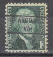 USA Precancel Vorausentwertung Preo, Locals Virginia, Aroda 841 - Vorausentwertungen