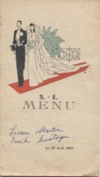 MENU De MARIAGE ILLUSTRE - 1947 - Menus