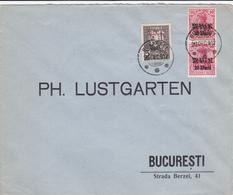 """Lettre Romania - """"Ph. Lustgarten""""- 1917 - Timbre N°8 + 2x N°1 - Sous L'occupation Allemande - Cartas De La Primera Guerra Mundial"""