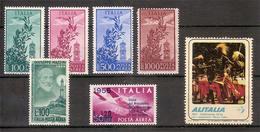 (Fb).Repubblica.1955-56.Posta Aerea.6 Val Nuovi Filigrana Stelle,gomma Integra + Un Erinnofilo Dell'Alitalia  (71-14) - 6. 1946-.. Republic