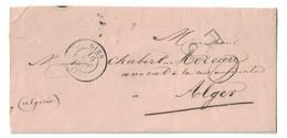 1855 - LETTRE LAC De GIEN Pour ALGER (ALGERIE BFE) NON-AFFRANCHIE Et TAXÉE TAXE 30c DOUBLE TRAIT - Marcophilie (Lettres)