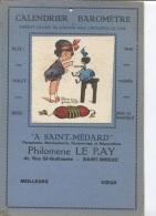 CALENDRIER BAROMETRE - A ST MENARD - MAROQUINERIE LE RAY - ST BRIEUC - ILLUSTRATION - Pubblicitari