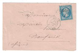 1868 - LETTRE LSC De ALGER Pour BOUFARIK (ALGERIE BFE) OBL. GC 5005 Sur NAPOLÉON N° 22 - Postmark Collection (Covers)