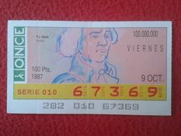 CUPÓN DE ONCE SPANISH LOTTERY CIEGOS SPAIN LOTERÍA BLIND ESPAGNE 1987 MÚSICO MÚSICA CLÁSICA MUSIC JOSEPH HAYDN VER FOTO - Lottery Tickets