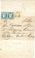 1873- Pli Sous Bande D'Angoulème  RECC à 65 C.  Pour Lhoumeau  - Tarif Intérieur à Une Circonscription - Storia Postale