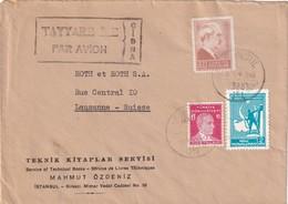 TURQUIE 1946 PLI AERIEN DE ISTANBUL POUR LAUSANNE - 1921-... République