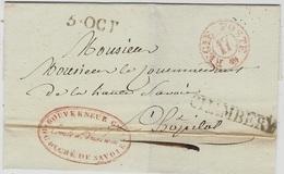 """1829- Duché De Savoie - Lettre De CHAMBERY + Regie Poste 17 Rouge + FR. """"Gouverneur Gal /du Duché De Savoie """" - 1801-1848: Voorlopers XIX"""