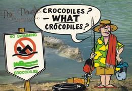 Postcard Port Douglas North Queensland Humour Crocodiles What Crocodiles Fishing No Swimming  My Ref  B23110 - Far North Queensland