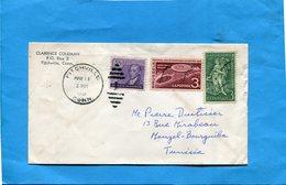 Marcophilie-USA-Lettre->TUNISIE--cad- Fitchville 1958-3 Stamps - Poststempel