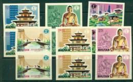 Bhutan 1965 Buildings IMPERF Pair MUH Lot21391 - Bhutan