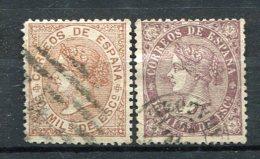 1867 - Yv. N° 97, 98  (o)   50m  Brun-lilas Isabelle  Cote  1,5 Euro  BE     2 Scans - Gebruikt