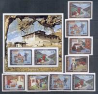 Bhutan 1973 Bhutanese Mail Service + MS IMPERF MUH - Bhutan