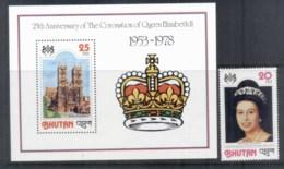 Bhutan 1978 QEII Coronation 25th Anniv + MS MUH - Bhutan