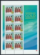 AUSTRALIA 2000 TYPE 1 AUSTRALIAN GOLD MEDAL MEDALLISTS OLYMPICS EQUESTRIAN TEAM THREE 3 DAY EVENT SHEET OF10 NHM HORSES - Blokken & Velletjes