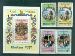Bhutan 1981 Charles & Diana Royal Wedding +MS MUH Lot81852 - Bhutan