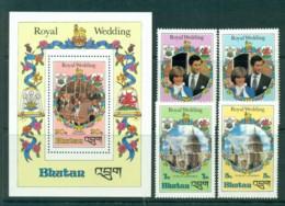 Bhutan 1981 Charles & Diana Wedding + MS MUH Lot30304 - Bhutan