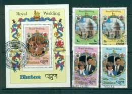 Bhutan 1981 Charles & Diana Wedding +MS  FU Lot44811 - Bhutan