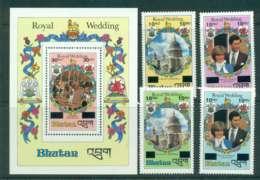 Bhutan 1981 Charles & Diana Wedding Surch +MS  MUH Lot44812 - Bhutan