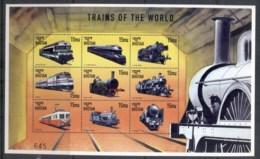 Bhutan 1999 Trains Of The World #2 Sheetlet MUH - Bhutan