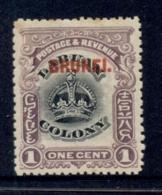 Brunei 1906 Opt On Labuan Crown 1c MLH - Brunei (1984-...)