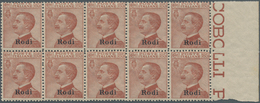Ägäische Inseln: 1922, Italy Victor Emanuel III, 85c. Red-brown With Black Opt. 'Rodi' Block Of Ten - Aegean