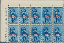 Ägäische Inseln: 1934, Football World Championship In Italy 5l.+2.50l. Blue Block Of Ten From Lower - Aegean