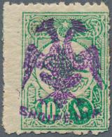 Albanien: Albania, 1913, 10 Para Green Of Turkey With VIOLET (instead Of Black) Handstamp Overprint - Albania