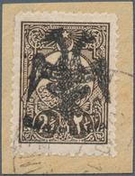 "Albanien: Albania, 1913, 2 1/2 Piaster Dark Brown Of Turkey With Black Handstamp Overprint ""DOUBLE E - Albania"