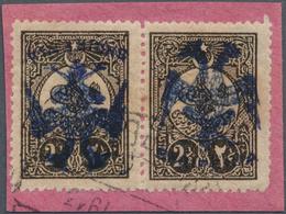Albanien: 1913, Double Headed Eagle Overprints, 2½pi. Dark Sepia, Horiz. Pair With BLUE Overprint, O - Albania