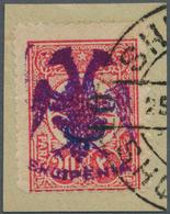 Albanien: 1913, Double Headed Eagle Overprints, 10pa. On 20pa. Rose With VIOLET Eagle Overprint And - Albania