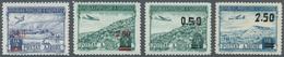 Albanien: 1952/1953, Flugpostmarken Mit Roten Und Mit Schwarzem Aufdruck Als Zwei Postfrische Sätze. - Albania