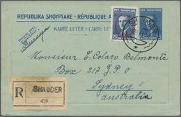 "Albanien - Ganzsachen: 1972, Letter Card 25 Q. Uprated 25 Q. Ovpt. ""A.Z."" Tied ""SHKODER 26 11 27"" Re - Albania"