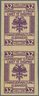 "Albanien - Besonderheiten: 1919 Appr.: Proofs For Fiscal Stamps With German Inscript ""FINANZVERWALTU - Albania"