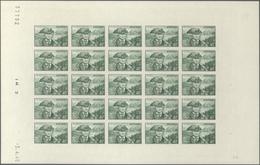 """Andorra - Französische Post: 1944, """"Landscapes"""", 40 Fr Dark Green, Complete Sheet Of 25 Imperforated - Other"""