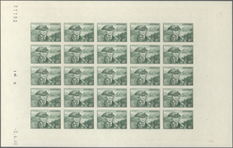 "Andorra - Französische Post: 1944, ""Landscapes"", 40 Fr Dark Green, Complete Sheet Of 25 Imperforated - French Andorra"