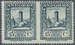 Andorra - Spanische Post: 1929, Native Buildings, Pair Of 15 C, Unperforated Between The Stamps. ÷ 1 - Spanish Andorra