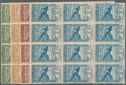 Andorra - Spanische Post: 1932, Not Issued Airmail Set Of 12 In Blocks Of Twelve, Mint Never Hinged - Spanish Andorra