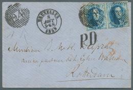 """Belgien: 1858, 20 C Blau Im Waager. Paar Mit Tollem Abschlag """"24"""" Auf PD-Brief Von Brüssel Nach Rott - Belgium"""