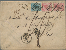 Belgien: 1867. Envelope Addressed To France Bearing Yvert 18, 20c Ultramarine And Yvert 20, 40c Rose - Belgium