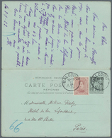 Belgien: 1922, France: Late Usage Of 1896 10/10 C Black On Bluish Sage Postal Stationery Reply Card, - Belgium