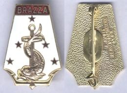 Insigne Du Paquebot Brazza De La Compagnie Des Chargeurs Réunis - Navy