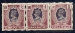 Burma 1938 KGVI & Peacock 1r Str3 MUH - Myanmar (Burma 1948-...)