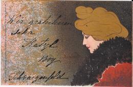 Art Nouveau - Henri MEUNIER - Serie IDEAL Fondo Nero E Oro - Illustratori & Fotografie