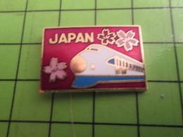 210A Pin's Pins / Beau Et Rare : Thème TGV : JAPAN JAPON FLEURS DE CERISIER ET TGV AUX YEUX BRIDES - TGV