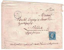 1859 - LETTRE LSC CHARGÉ De NEUF-BRISACH (PC 2241) Pour BLIDAH ALGERIE FRANÇAISE AFFRANCHISSEMENT INCOMPLET NAPOLEON 20c - Marcophilie (Lettres)