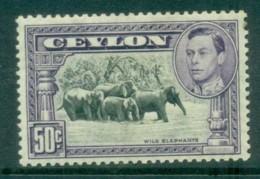 Ceylon 1938-52 KGVI Wild Elephants 50c Perf 13x13.5 MLH Lot82472 - Sri Lanka (Ceylon) (1948-...)