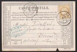 France - N° 55 Sur Carte Postale Obl. 1876 CaD Hirson Pour Vervins - 1849-1876: Periodo Classico