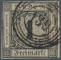Baden - Marken Und Briefe: 1851, Ziffern 1 Kr. Schwarz Auf Hellgraugelb Auf Durchscheinendem Papier - Baden